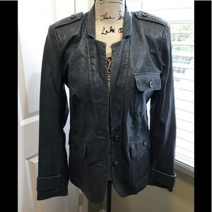Rachel Zoe blueish gray leather jacket